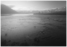 Outlet stream of Twin Lakes on a foggy morning. Lake Clark National Park ( black and white)
