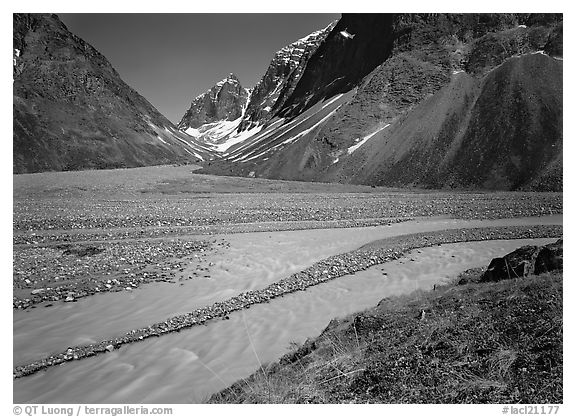 Wide stream at the junction of valleys below the Telaquana Mountains. Lake Clark National Park (black and white)