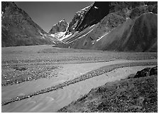 Wide stream at the junction of valleys below the Telaquana Mountains. Lake Clark National Park ( black and white)