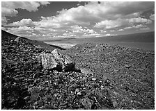 Boulder field and Turquoise Lake. Lake Clark National Park ( black and white)