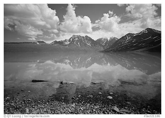Clouds and Telaquana Mountains above Turquoise Lake, from the middle of the lake. Lake Clark National Park (black and white)