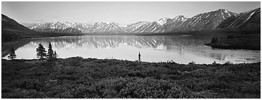 Calm evening at Twin Lakes. Lake Clark National Park (Panoramic black and white)