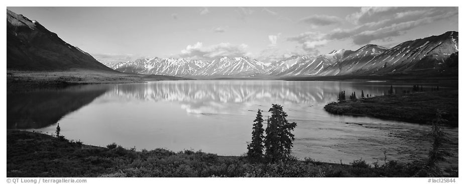 Mountains reflected in Twin Lakes. Lake Clark National Park (black and white)