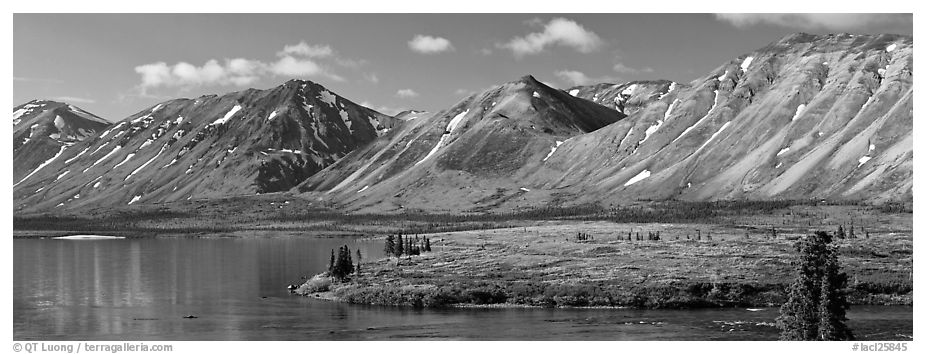 Mountains rising above Twin Lakes. Lake Clark National Park (black and white)