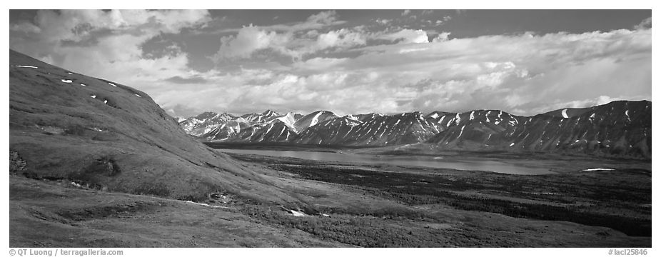 Verdant tundra landscape in the summer with lake and mountains. Lake Clark National Park (black and white)