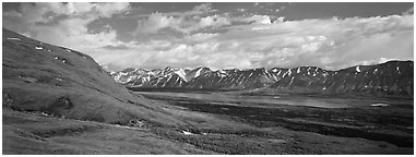 Verdant tundra landscape in the summer with lake and mountains. Lake Clark National Park (Panoramic black and white)