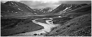 Mountain scenery with stream and tundra in summer. Lake Clark National Park (Panoramic black and white)