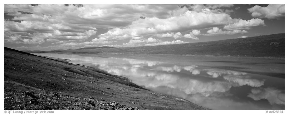 Turquoise Lake reflecting clouds. Lake Clark National Park (black and white)