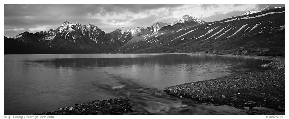 Stream flowing into mountain lake. Lake Clark National Park (black and white)