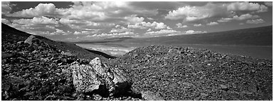 Rocky hills and lake. Lake Clark National Park (Panoramic black and white)