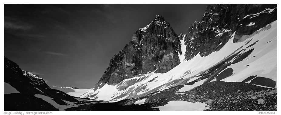 Rocky peaks with early summer snow. Lake Clark National Park (black and white)