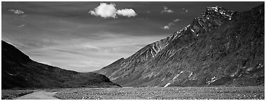 Peaks rising above gravel bar. Lake Clark National Park (Panoramic black and white)