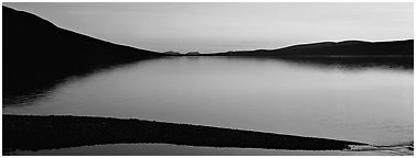 Lake reflecting sunset colors. Lake Clark National Park (Panoramic black and white)