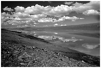 Turquoise Lake and clouds. Lake Clark National Park ( black and white)