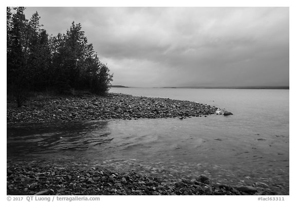 Stream flowing into Lake Clark, Port Alsworth,. Lake Clark National Park (black and white)