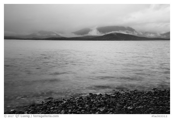 Lake Clark from Port Alsworth, rain. Lake Clark National Park (black and white)