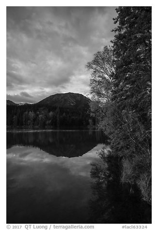 Kontrashibuna Lake in autumn. Lake Clark National Park (black and white)