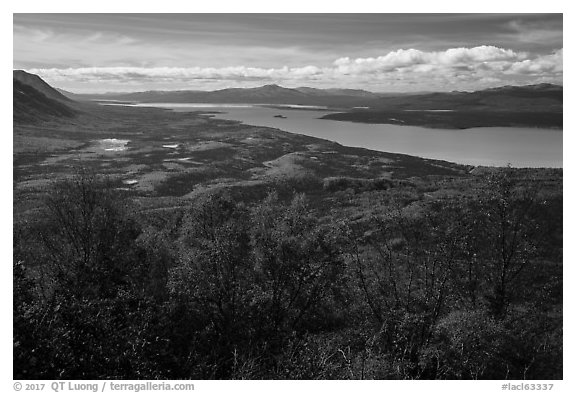 Lake Clark from Tanalian Mountain in the autumn. Lake Clark National Park (black and white)