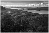 Lake Clark from Tanalian Mountain in the autumn. Lake Clark National Park ( black and white)