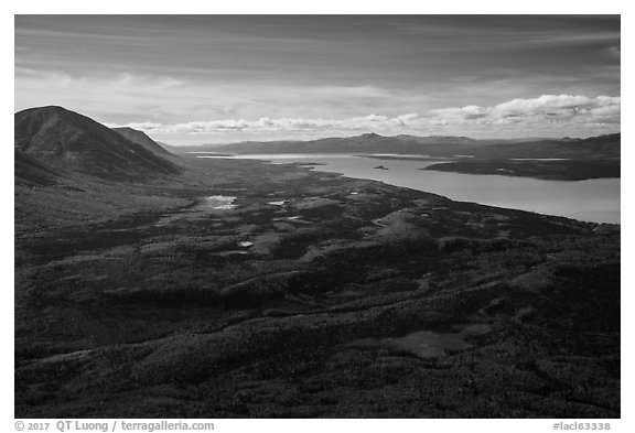 Looking south from Tanalian Mountain. Lake Clark National Park (black and white)