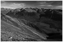 Kontrashibuna Lake and distant Iliamna Volcano. Lake Clark National Park ( black and white)