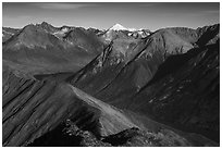 Kontrashibuna Lake and Iliamna Volcano from Tanalian Mountain. Lake Clark National Park ( black and white)