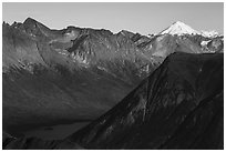 Iliamna Volcano  and Kontrashibuna Lake. Lake Clark National Park ( black and white)