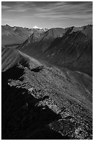 Summit ridge of Tanalian Mountain, Kontrashibuna Lake, Iliamna Volcano. Lake Clark National Park ( black and white)