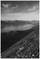 Lake Clark from Tanalian Mountain, looking north, afternoon. Lake Clark National Park ( black and white)