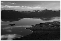 Lake Clark (Qizhjeh Vena) from above, late afternoon. Lake Clark National Park ( black and white)