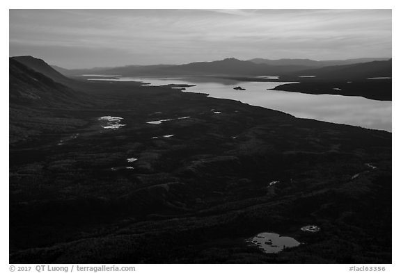 Lake Clark from Tanalian Mountain at sunset, looking south. Lake Clark National Park (black and white)