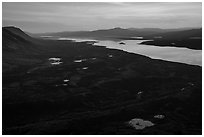 Lake Clark from Tanalian Mountain at sunset, looking south. Lake Clark National Park ( black and white)