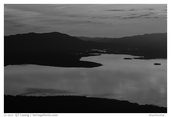 Lake Clark from above, sunset. Lake Clark National Park (black and white)