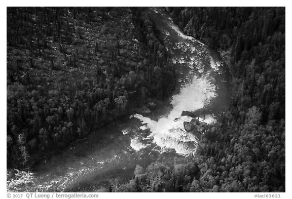 Aerial view of Tanalian River and Falls. Lake Clark National Park (black and white)