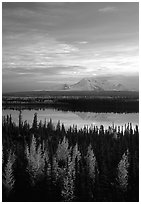 Mt Wrangell reflected in Willow lake, early morning. Wrangell-St Elias National Park ( black and white)