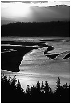 Early morning sun shining on the wide Chitina river. Wrangell-St Elias National Park ( black and white)