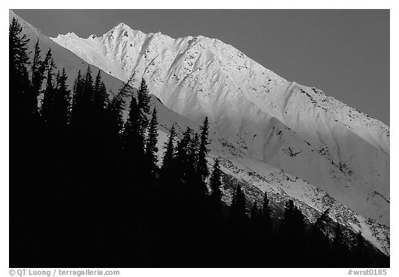 Bonanza ridge near Kennicott, sunset. Wrangell-St Elias National Park (black and white)