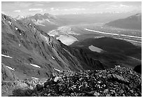 Mountain landscape with glacier seen from above. Wrangell-St Elias National Park ( black and white)