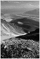 Junction of Kennicott and Root glaciers seen from Mt Donoho, late afternoon. Wrangell-St Elias National Park ( black and white)