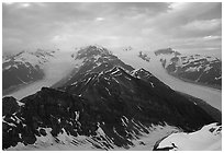 Kennicott and Root glaciers seen from Mt Donoho, evening. Wrangell-St Elias National Park ( black and white)
