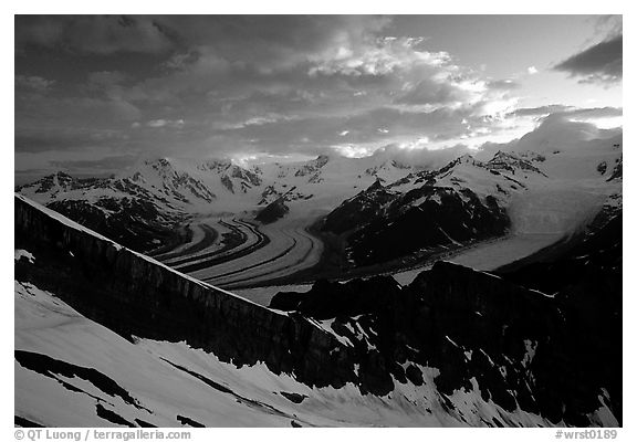 The Wrangell range seen from Mt Donoho, sunrise. Wrangell-St Elias National Park (black and white)