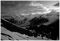 The Wrangell range seen from Mt Donoho, sunrise. Wrangell-St Elias National Park ( black and white)