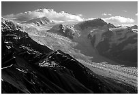 Root glacier seen from Mt Donoho, morning. Wrangell-St Elias National Park ( black and white)