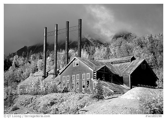 Kennicott historic copper mining buildings. Wrangell-St Elias National Park (black and white)