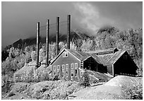Kennicott historic copper mining buildings. Wrangell-St Elias National Park, Alaska, USA. (black and white)