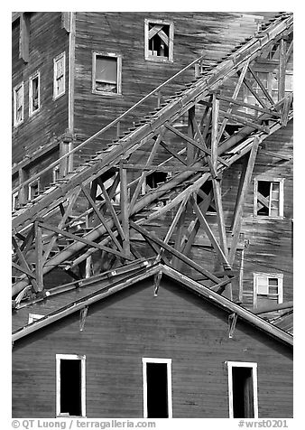 Close-up of mill in Kennicott historic copper mine. Wrangell-St Elias National Park (black and white)