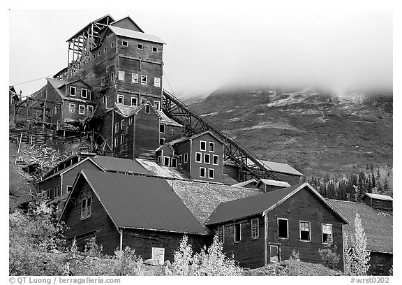 Kennicott historic copper mine and clouds. Wrangell-St Elias National Park (black and white)