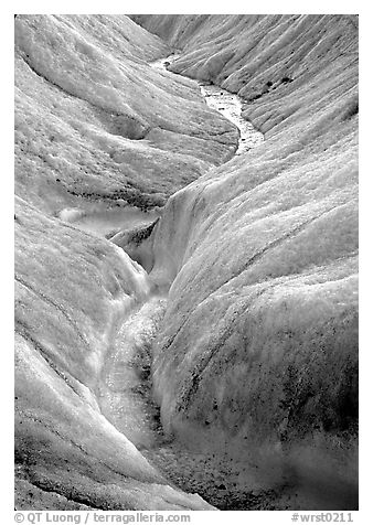 Close-up of glacial stream on Root glacier. Wrangell-St Elias National Park (black and white)