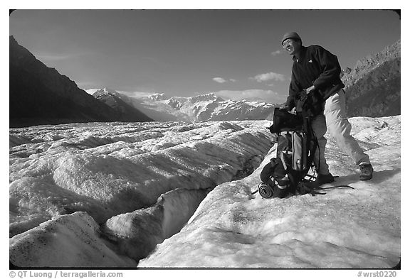 Hiker on Root glacier. Wrangell-St Elias National Park (black and white)