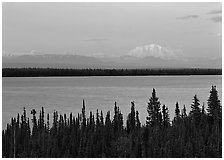 Wrangell range and Mt Blackburn above Willow Lake with pink sunset hues. Wrangell-St Elias National Park, Alaska, USA. (black and white)